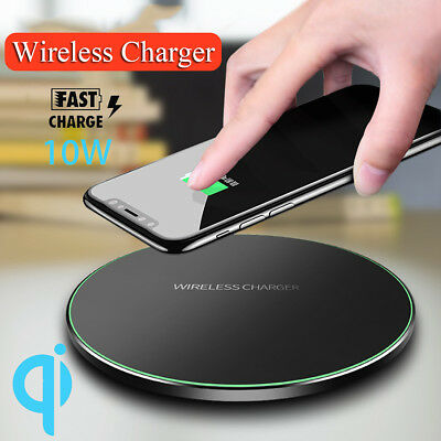 Wireless Charger QI Fast Charging Pad Mat Metal For Apple iPhone X 10 8 Plus UK