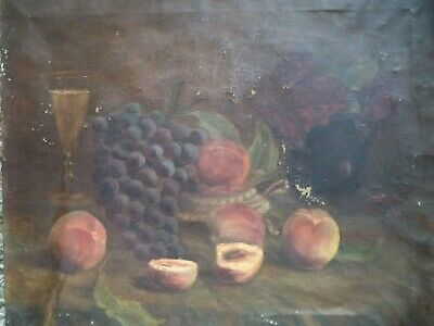 Ancienne Hst Huile Sur Toile Nature Morte  Signee  French Antique