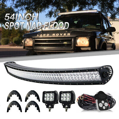 """54Inch Curved LED Light Bar + 4"""" Pods Offroad SUV For Ford   Roof USA 50"""""""