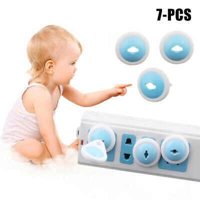 7PCS Baby Child 3 Holes Safety Power Board Socket Outlet Plug Covers Protective