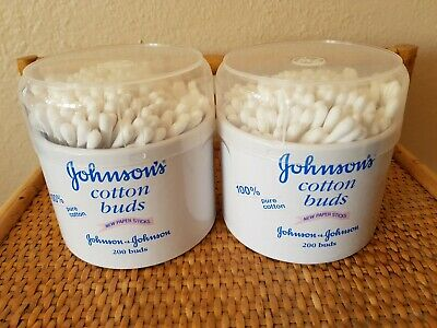 2 tubs of Johnsons Cotton Buds Qty 200 Per Tub For Cleaning Ears Nose (2 Tubs )