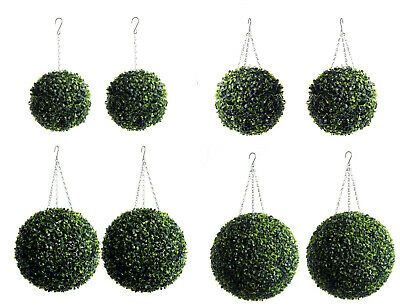 Best Artificial Pair of Green Boxwood Topiary Ball grass buxus hanging garden