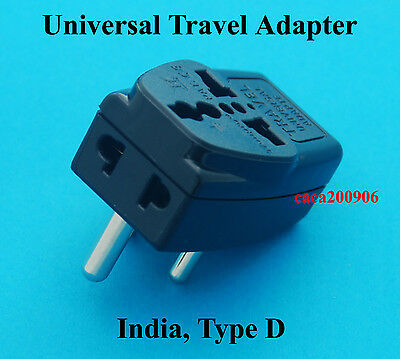 3 Universal Ports USA AUS UK Euro to India Type D Travel Adapter AC Power Plug