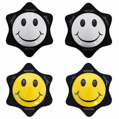 Oxford Smiler Motorcycle Knee Sliders Track Race Bike Knee Pads White Yellow