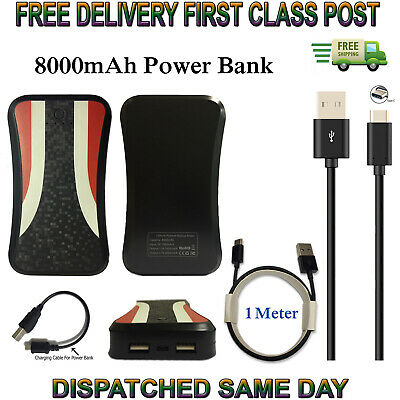 Fast Dual USB 8000mAh PowerBank Charger & Cable For Xiaomi Pocophone F1 Mi Mix 3