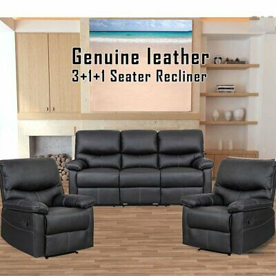 New Luxury 3 + 1 + 1 Seater Sofa Couch Genuine Leather Recliner Lounge Set