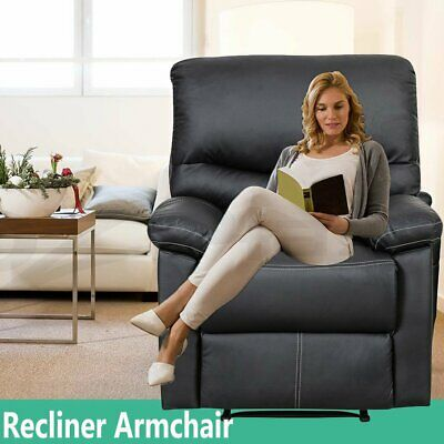 Modern Black 1 Seater Leather Recliner Armchair Sofa Lazy Soft Living Room UK
