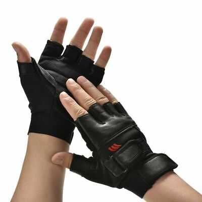 1Pair Men Black PU Leather Weight Lifting Gym Gloves Workout Wrist Wrap Sports