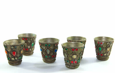 ANTIQUE Collectible brass Eight cup old rare engraved copper arabic Decorative