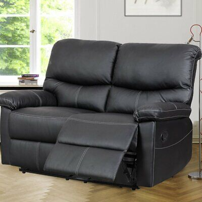 Black 2 Seater Real Genuine Leather Recliner Sofa Super Comfy Lazy boy Couch UK
