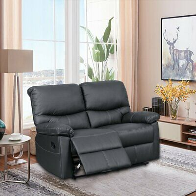 Leather Recliner Sofa Sets Suite 2 Seater Sofa Couch Settee Lazy boy Sofa Black