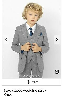 Boys 5 Piece Wedding Suit In Light Grey Age 6-7, Tweed Marl - Comes in suit bag