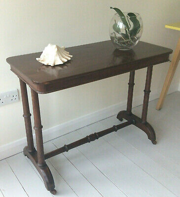 Antique Victorian Wooden Mahogany Console Side Hall Table on Castors, Small Desk