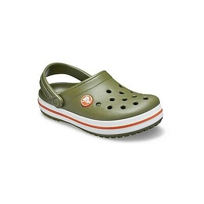 Crocs 204537 CROCBAND CLOG Kids Boys Girls Slip On Clogs Army Green/Burnt Sienna