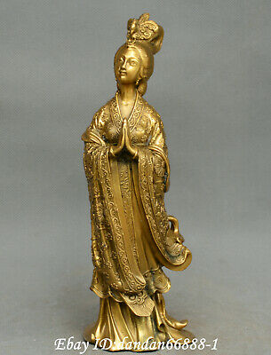 Collect Chinese fengshui old bronze beauty beautiful woman fairy maiden statue