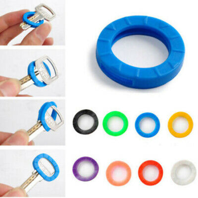 8PCS Bright Color Hollow Silicone Key Cap Cover Topper Keyring Keychain Gifts