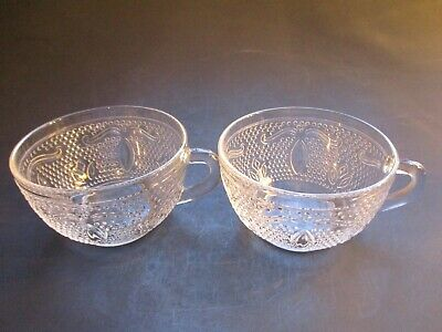 Vintage ~ Two Clear Glass Punch Cups ~ Nice Design