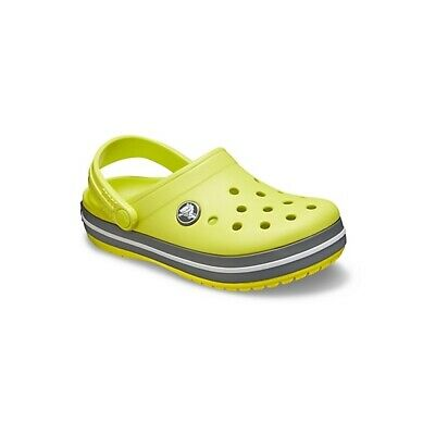 Crocs 204537 CROCBAND CLOG Kids Boy Girls Slip On Casual Clogs Citrus/Slate Grey