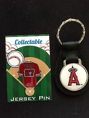 Los Ángeles Angels Mike Trucha Pin de Solapa & Cuero Keychain-Collectable Combo