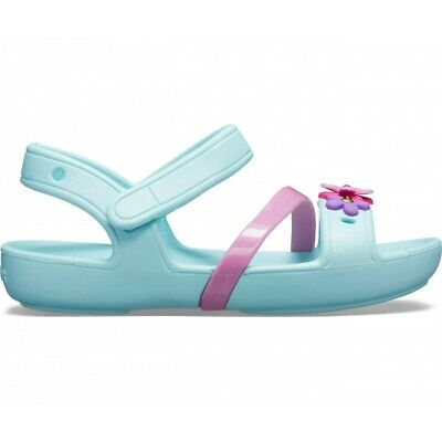 Crocs 205530 LINA CHARM SANDAL Girls Open Toe Touch Fastening Sandals Ice Blue