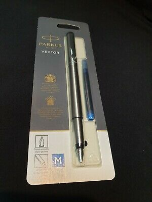 Parker Vector Stainless Steel Fountain Pen Case and blue cartridge. Medium