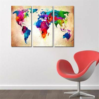 Frameless Painting Art Home Huge Wall World Oil On Canvas Colorful Map Decor