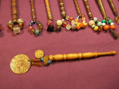 Vintage Lace Bobbins Lacemaking Some With Decorative Glass Bead Spangles