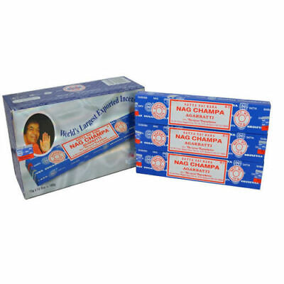 Bulk Buy 3, 6 or 12 Pack Box 15g Satya Insence Nag Champa Incense Joss Sticks