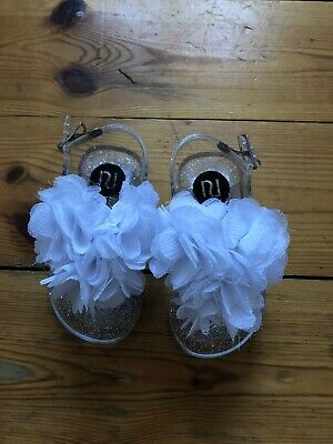 New River Island Girls Clear Glittery Flower Sandals Size 4
