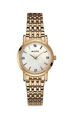 Bulova Women's 97P106 Quartz Diamonds Mother of Pearl Dial Rose-Gold 27mm Watch