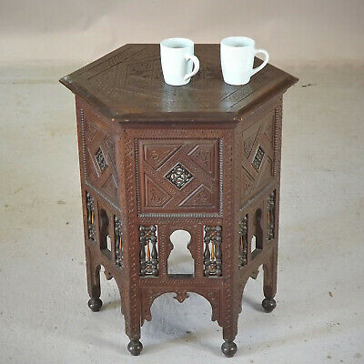 Moorish Lamp Table - Antique - C1900 - Carved (delivery £40)