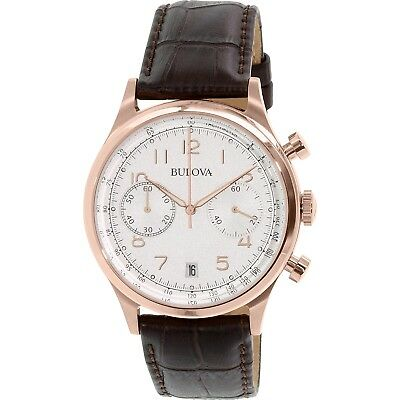 Bulova Men's Quartz Chronograph Rose Gold Tone Case 43mm Watch 97B148