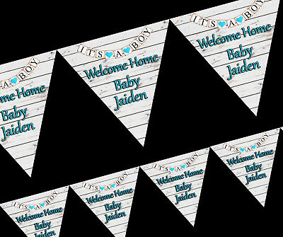 Its A Boy Welcome Home Personalised Party Decoration Bunting Banner Blue