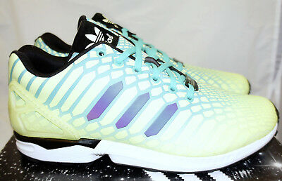 6105e872d ADIDAS ZX Flux Xeno Yellow Mint Green Black Men s 10 Running Shoes Glow in  Dark
