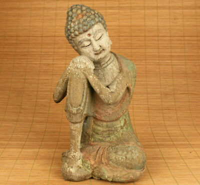Antique Big old wood hand carved buddha statue collectable Blessing ornament
