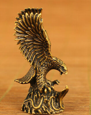 chinese old copper hand carved eagle statue figure collectable table decoration