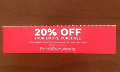 Bath & Body Works Coupon 20% Off Purchase FAST SHIPPING!! Expires April 14, 2019