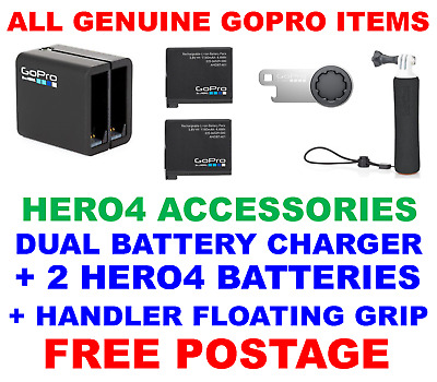 Genuine Gopro Hero 4 Dual Battery Charger, Batteries And Handler Floating Grip