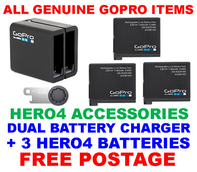 Genuine Official Gopro Hero 4 Dual Battery Charger + Extra Batteries New Sealed