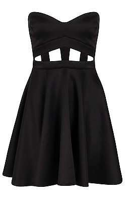 9dca2b93bf56 New Boohoo Black Cage/Cut Out Penny Bandeau Skater Dress UK 10 Party/Summer