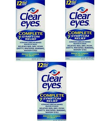 Clear Eyes Drops COMPLETE Symptom Relief 0.50 oz (3 pack)  EXP 01/2020