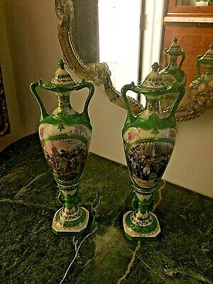 Pair antique 1800s french porcelain double handle lidded Urn vases, hand-painted