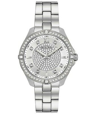 Bulova Women's 96L236 Quartz Crystal Accents Silver-Tone Bracelet 35mm Watch
