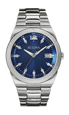 Bulova Classic Men's 96B220 Quartz Blue Dial Silver-Tone Bracelet 43mm Watch