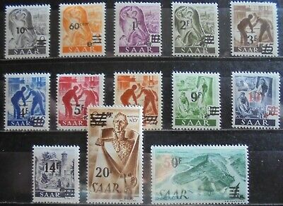 GERMANY SAAR 1947 French Currency Overprint Complete Set of 13 m/h