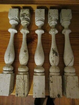 """Lot of 5 Antique Victorian Porch Turned Spindles Chippy Paint 21-3/4"""" c1890 """""""