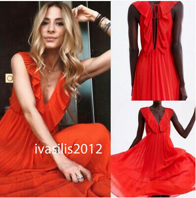 7eaa760f Zara New Long Flowing Pleated Dress Asymmetric V-Neck Red/Coral Xs-Xl