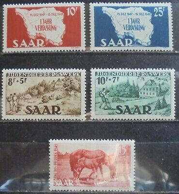 GERMANY SAAR 1948-49 Small Collection of 5 m/h & MNH