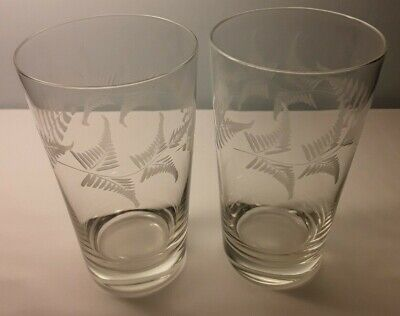 A Matching Pair of Antique Victorian Fern Engraved Glass Pint Hi-ball Tumblers