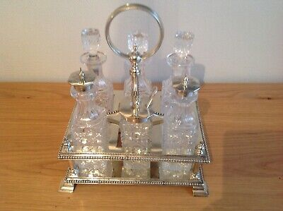 Superb Quality Edwardian Glass And Silver Plated 6 Bottle Cruet Set